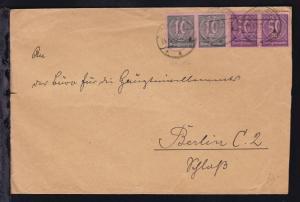 Ziffer 10 M. und 50 M. (je waager. Paar) auf Brief des Ministerium für
