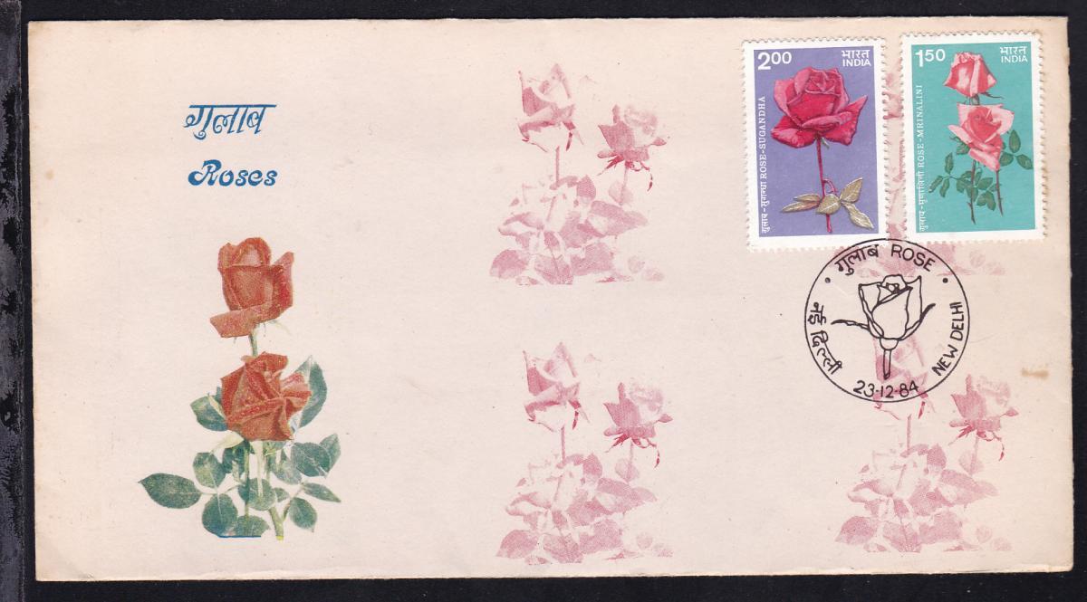 Rosen auf FDC ohne Anschrift, dazu Infoblatt der Indischen Post 0