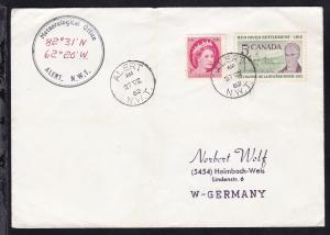 Kanada K1 ALERT N.W.T. 27 VII 62 + cachet Meteorological Office auf Brief