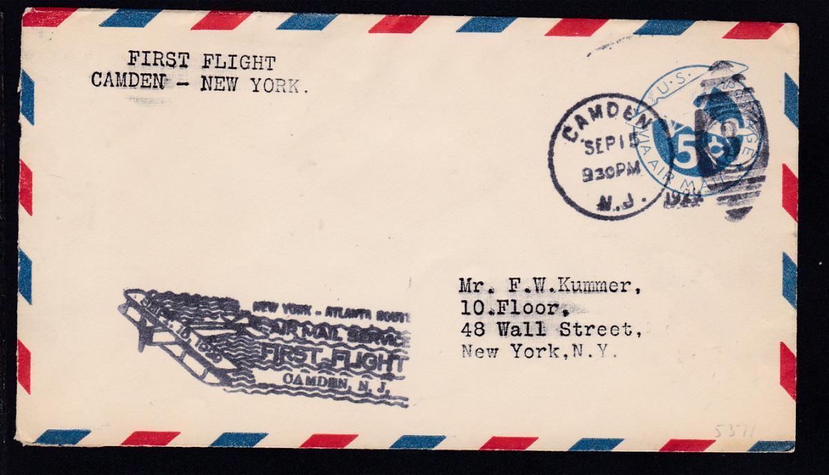 Erstflugbrief Camden-New York SEP 15 1929  0