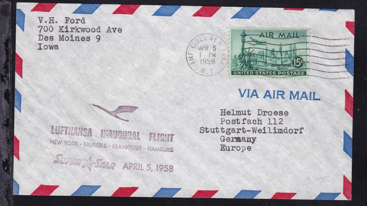 Lufthansa-Erstflugbrief New York-Hamburg APR 5 1958 0