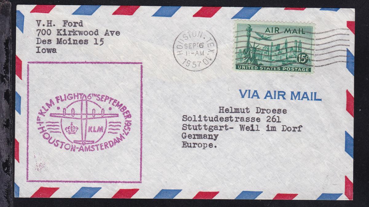 KLM-Erstflugbrief Houston-Amsterdam SEP 6 1957 0