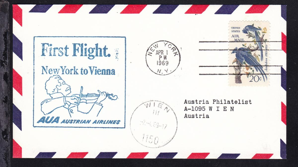 AUA-Erstflugbrief New York-Wien APR 1 1969 0