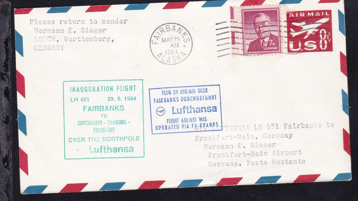 Lufthansa-Erstflugbrief Fairbanks-Frankfurt MAY 29 1964 0