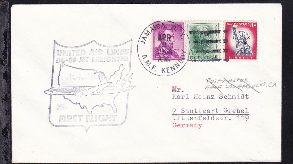 United Airlines-Erstflugbrief New York-Los Angeles APR 2 1964  0