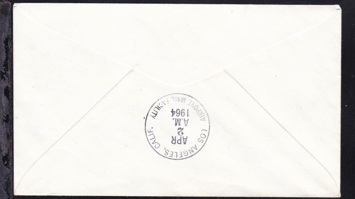 United Airlines-Erstflugbrief New York-Los Angeles APR 2 1964  1