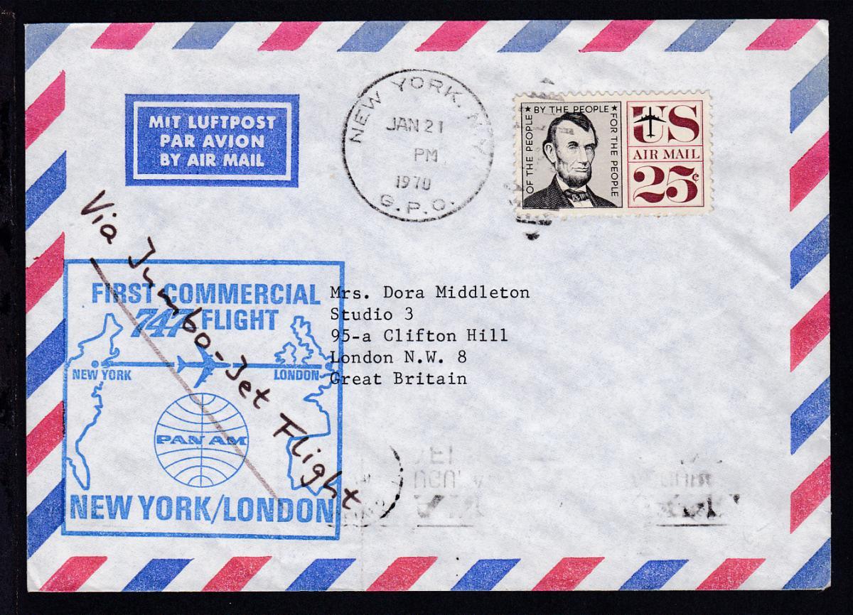 PANAM-Erstflugbrief New York-London JAN 21 1970, Brief senkr. Bug 0
