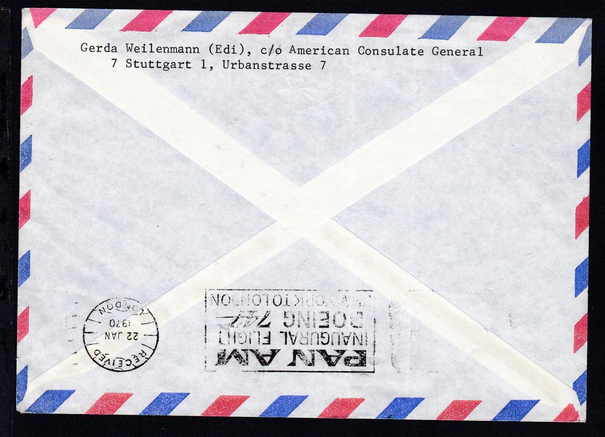 PANAM-Erstflugbrief New York-London JAN 21 1970, Brief senkr. Bug 1