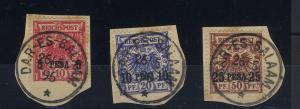 3 Werte je auf Briefstück (an Stempellinie geschnitten), alle mit Stempel