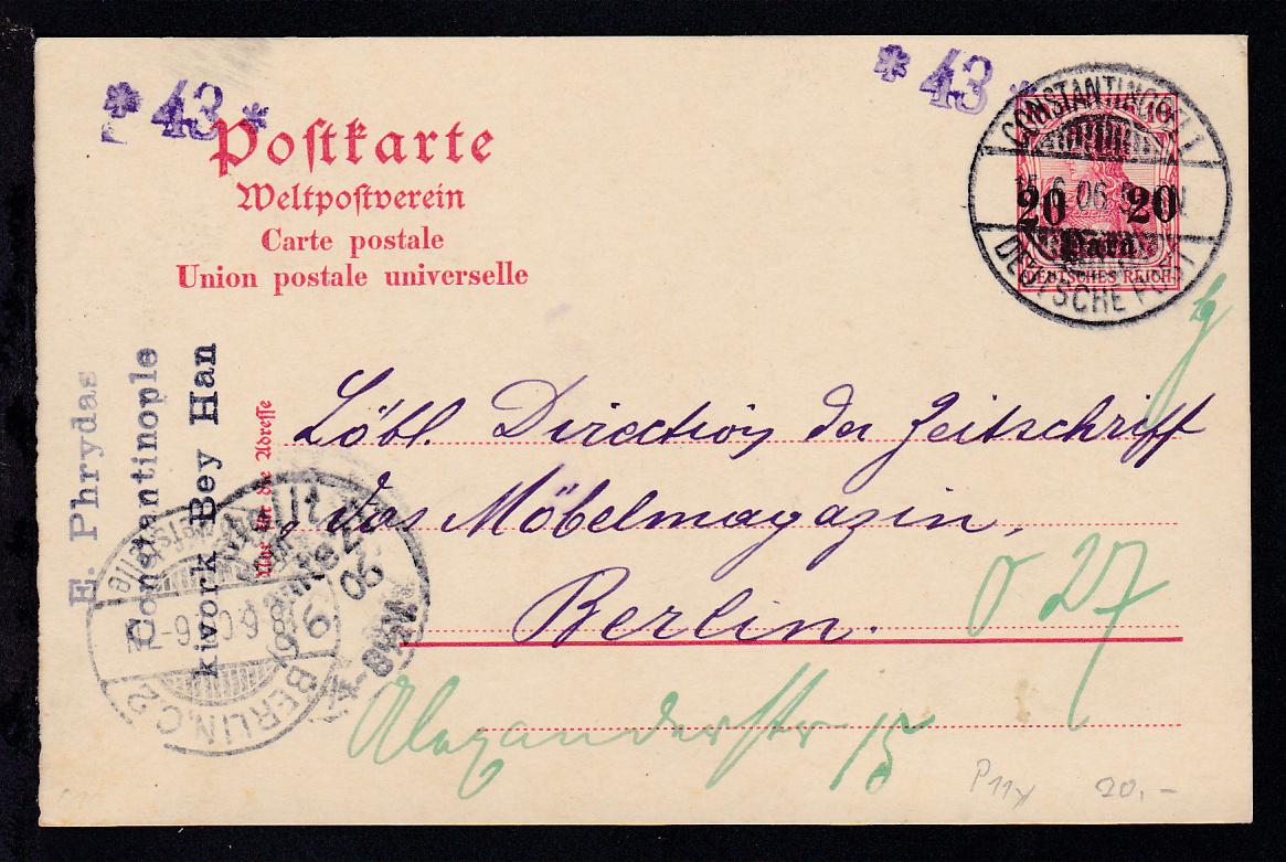 Germania 10 Pfg. mit Aufdruck 20 PARA 20 mit Stempel CONSTANTINOPEL 1  0
