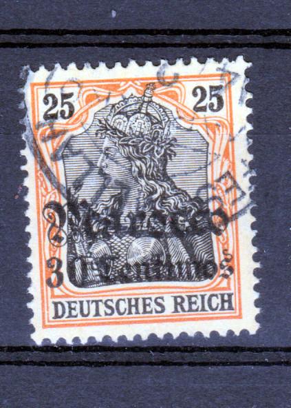 Germania 25 Pfg. mit Aufdruck Marocco 30 Centimos mit Stempel FES-MELLAH 0