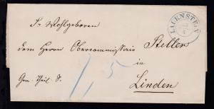 Lauenstein K2 LAUENSTEIN 29.4. auf Dienstbriefhülle nach Linden