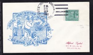USA Maschinenstempel U.S.C.G. CUTTER NORTHWIND (WAGB-282) 25 SEP 1961 + Cachet