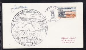 USA Maschinenstempel Barrow Alaska AUG 21 1961 + Cachet ARLIS-II auf Brief