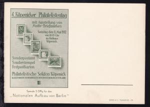 Berlin Sonderpostkarte zum 4. Köpenicker Philatelistentag 11.5.1952, ungebraucht