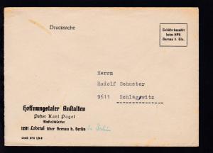 Bernau R3 Gebühr bezahlt beim HPA Bernau b. Bln. auf Brief der Hoffnungstaler
