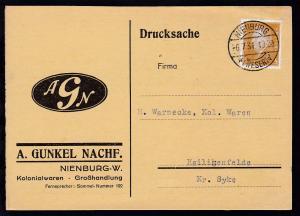 Nienburg OSt. NIENBURG (WESER) *a 6.7.31 auf Firmen-Postkarte