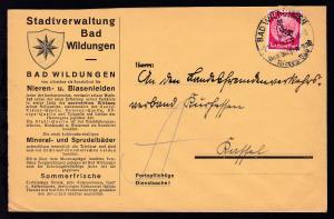 Bad Wildungen Werbestempel BAD WILDUNGEN Das Blasen- und Nierenbad 2.11.37