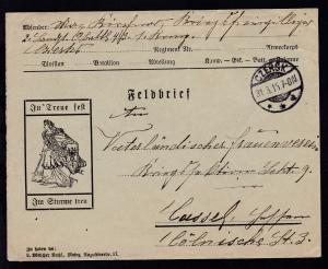 Czersk OSt. CZERSK **a 31.3.15 auf illstriertem Feldpostbrief