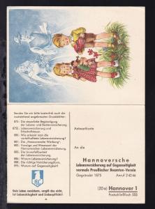 Hannover ca. 1960 ungebrauchte Werbe-Postkarte Hannoverschen Lebensversicherung