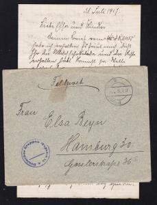 K D Feldpost … 31.7.17 + K1 Deutsches Etappen Magazin 15 auf Feldpostbrief mit