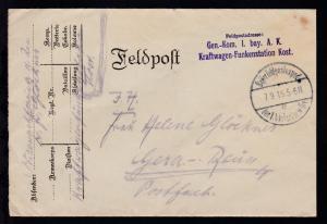 Bayer. Feldpostexped. der 1. b. Infanterie-Div.c 7.9.16 +