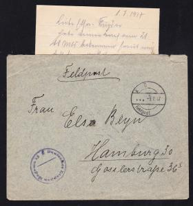 K D Feldpost … 3.7.17 + K1 Deutsches Etappen Magazin 15 auf Feldpostbrief mit