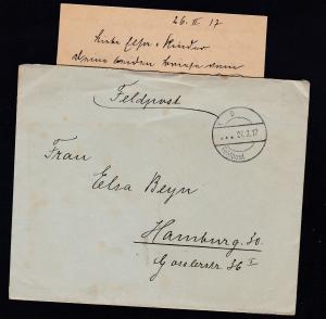 K D Feldpost … 27.2.17 auf Feldpostbrief mit Inhalt, Absenderangabe