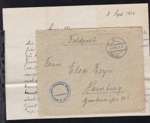 K D Feldpost … 3.9.17 + K1 Deutsches Etappen Magazin 15 auf Feldpostbrief mit
