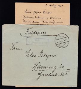 K D Feldpost … 2.3.17 + R2 B.S. Et. Kmdtr. 263 auf Feldpostbrief mit Inhalt,