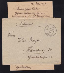 K D Feldpost ... 15.2.17 auf Feldpostbrief mit Inhalt, Absenderangabe