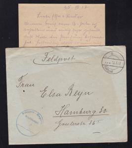 K D Feldpost … 27.3.17 + K1 Etappen Magazin Briefstempel auf Feldpostbrief mit