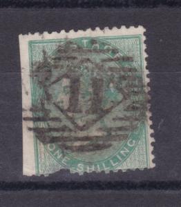 Königin Viktoria 1 Sh., breite Marke, Zähnung links abgeschnitten + unten Kerbe