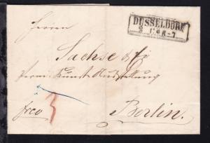 Düsseldorf 1858  R2 DÜSSELDORF 2.11. auf Brief nach Berlin
