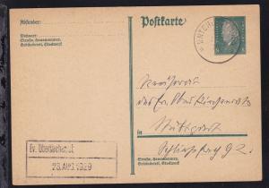 Untergettingen K1 UNTERGETTINGEN 22 APR 29 auf Ganzsache nach Stuttgart