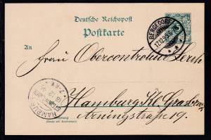 Ziffer 5 Pfg. ohne Punktlücke ab Bergedorf 17.12.95 nach Hamburg