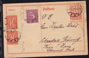 Postreiter 40 Pfg. mit Zusatzfrankatur ab Apolda 2.6.22 nach Ostseebad Grömitz