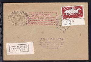 OSt. Brandenburg 5.5.57 + Cachets und Vignette Schiffspost Brandenburg-Potsdam