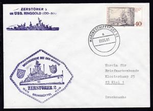 MARINESCHIFFSPOST 52 a 09.05.81 + Cachet Zerstörer 2 auf Brief