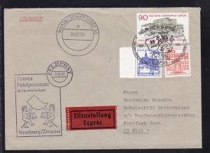 MARINESCHIFFSPOST 52 a 31.07.84 als Ankunftsstempel auf Eilbrief ab Neuburg/