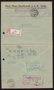 Gotha OSt. GOTHA *1* 29.8.23 + roter L2 Mk Nachweis in Gotha (mit hs 40000)
