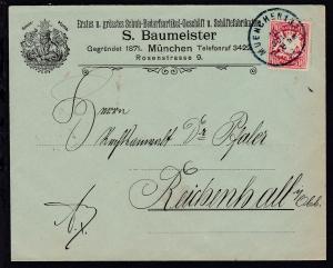 Wappen 10 Pfg. auf Firmenbrief (S. Baumeister, München) mit K1 MUENCHEN 13