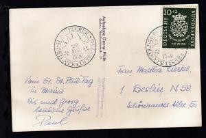 Mainz Sonderstempel 51. DEUTSCHER PHILATELISTENTAG MAINZ 20 AUG 1950 auf Foto-AK