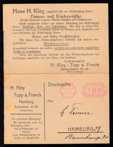 Hamburg Freistempel HAMBURG *1* 7.2.23. DEUTSCHES REICH 10 M.