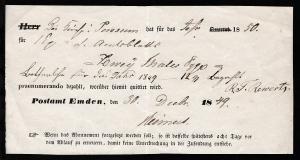 Emden 1849 Quittung für vorausbezahltes Zeitungsabonnement für das Jahr 1850