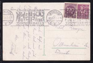 München Maschinenstempel MÜNCHEN *2* 18.7.23 13. DEUTSCHES TURNFEST 1923