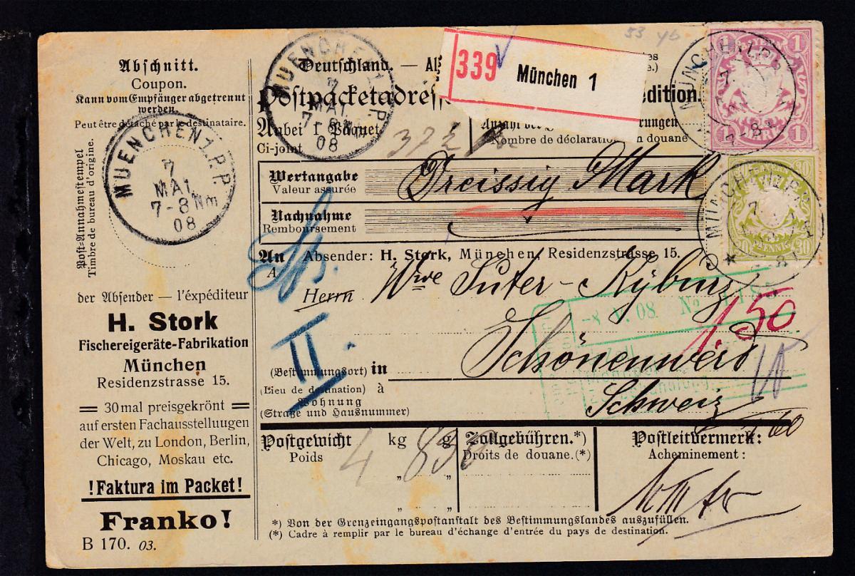Wappen 60 Pfg. und 1 Mark auf Paketkarte der Firma H. Stork München ab München  0