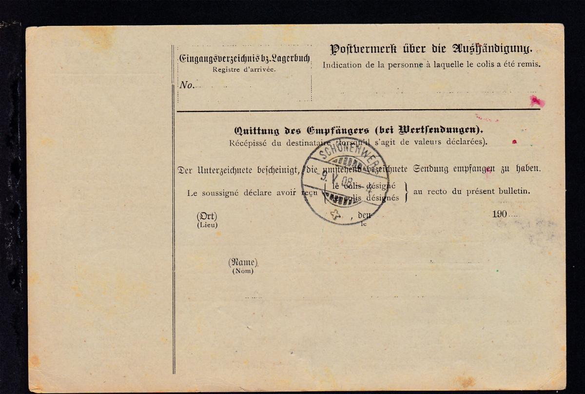 Wappen 60 Pfg. und 1 Mark auf Paketkarte der Firma H. Stork München ab München  1