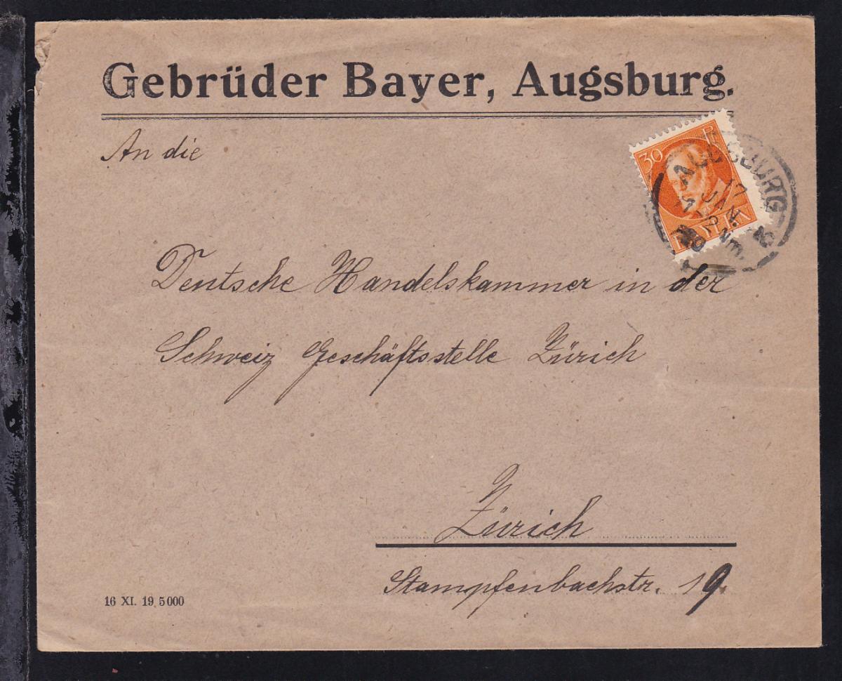 König Ludwig III 30 Pfg. auf Firmenbrief (Gebrüder Bayer, Augsburg)  0