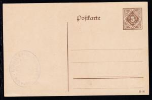 Dienstpostkarte Ziffer 3 Pfg. mit Dienststempel Evang. Pfarramt Schwabach